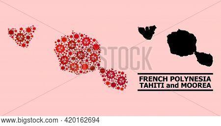 Vector Coronavirus Mosaic Map Of Tahiti And Moorea Islands Done For Pharmacy Advertisement. Red Mosa