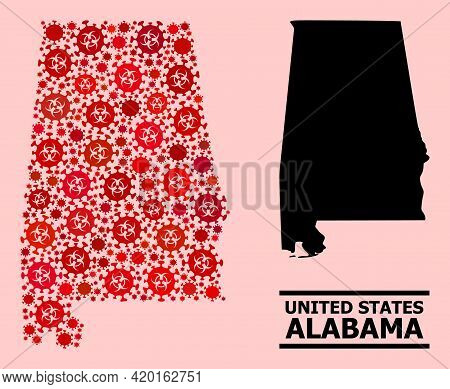 Vector Covid-2019 Mosaic Map Of Alabama State Designed For Doctor Projects. Red Mosaic Map Of Alabam