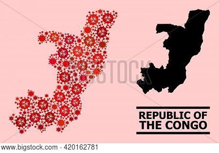 Vector Covid-2019 Mosaic Map Of Republic Of The Congo Designed For Lockdown Applications. Red Mosaic