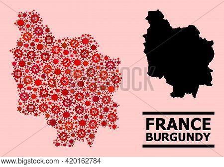 Vector Coronavirus Mosaic Map Of Burgundy Province Organized For Hospital Advertisement. Red Mosaic