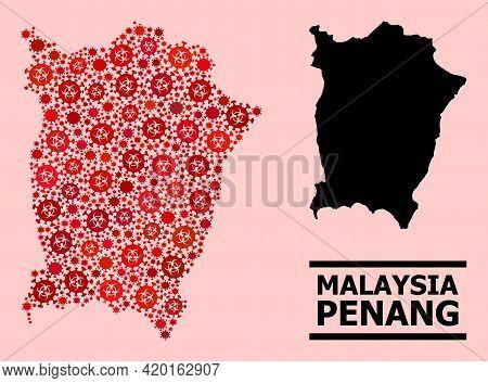 Vector Covid-2019 Mosaic Map Of Penang Island Designed For Doctor Purposes. Red Mosaic Map Of Penang
