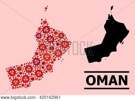 Vector Covid-2019 Mosaic Map Of Oman Constructed For Hospital Applications. Red Mosaic Map Of Oman I