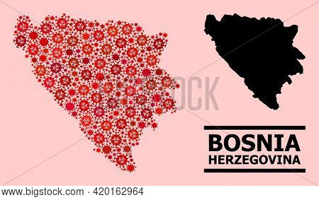 Vector Covid-2019 Mosaic Map Of Bosnia And Herzegovina Designed For Pandemic Wallpapers. Red Mosaic