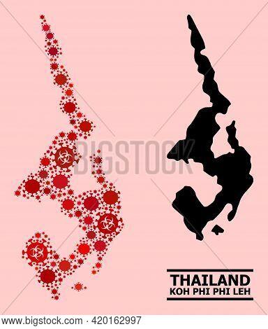 Vector Coronavirus Mosaic Map Of Koh Phi Leh Done For Lockdown Wallpapers. Red Mosaic Map Of Koh Phi