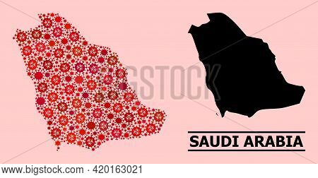 Vector Covid-2019 Composition Map Of Saudi Arabia Done For Health Care Posters. Red Mosaic Map Of Sa