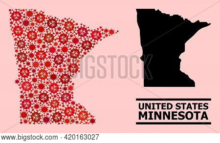 Vector Covid-2019 Composition Map Of Minnesota State Designed For Clinic Purposes. Red Mosaic Map Of