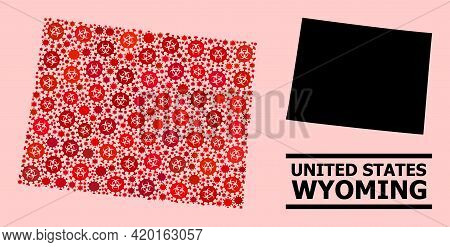 Vector Covid-2019 Composition Map Of Wyoming State Organized For Doctor Posters. Red Mosaic Map Of W
