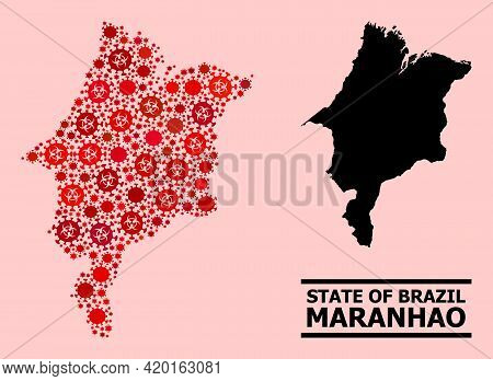 Vector Covid-2019 Mosaic Map Of Maranhao State Organized For Clinic Advertisement. Red Mosaic Map Of
