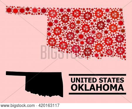 Vector Covid-2019 Mosaic Map Of Oklahoma State Organized For Doctor Illustrations. Red Mosaic Map Of