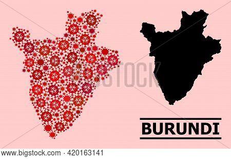 Vector Covid Mosaic Map Of Burundi Organized For Health Care Applications. Red Mosaic Map Of Burundi