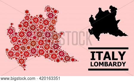 Vector Covid-2019 Mosaic Map Of Lombardy Region Created For Clinic Illustrations. Red Mosaic Map Of