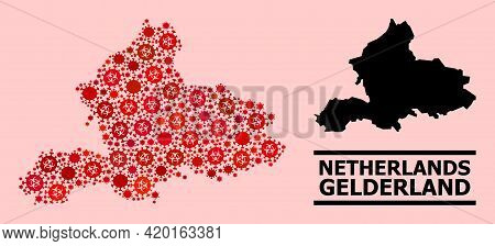 Vector Covid Mosaic Map Of Gelderland Province Created For Medicare Purposes. Red Mosaic Map Of Geld