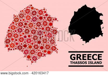 Vector Covid-2019 Mosaic Map Of Thassos Island Constructed For Health Care Posters. Red Mosaic Map O