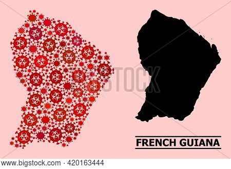 Vector Coronavirus Mosaic Map Of French Guiana Constructed For Medicare Projects. Red Mosaic Map Of