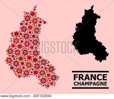 Vector Covid-2019 Collage Map Of Champagne Province Constructed For Clinic Illustrations. Red Mosaic