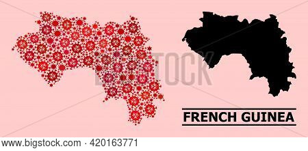 Vector Coronavirus Composition Map Of French Guinea Designed For Lockdown Purposes. Red Mosaic Map O