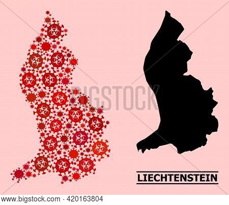 Vector Covid-2019 Mosaic Map Of Liechtenstein Created For Medicare Applications. Red Mosaic Map Of L