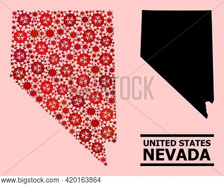 Vector Covid-2019 Mosaic Map Of Nevada State Constructed For Clinic Wallpapers. Red Mosaic Map Of Ne