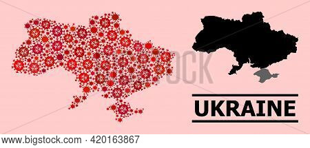 Vector Covid Collage Map Of Ukraine Constructed For Clinic Illustrations. Red Mosaic Map Of Ukraine