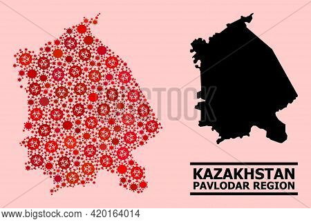 Vector Covid-2019 Mosaic Map Of Pavlodar Region Done For Medicare Purposes. Red Mosaic Map Of Pavlod