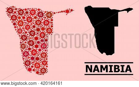 Vector Covid Mosaic Map Of Namibia Organized For Health Care Wallpapers. Red Mosaic Map Of Namibia I
