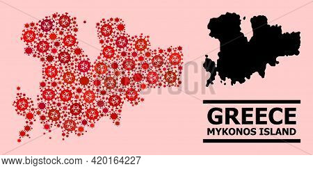 Vector Covid-2019 Collage Map Of Mykonos Island Organized For Pharmacy Wallpapers. Red Mosaic Map Of