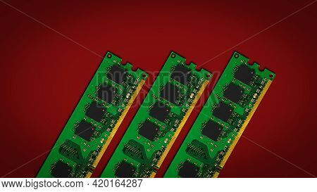 Modules Of Computer Ram -random Access Memory On A Red Background