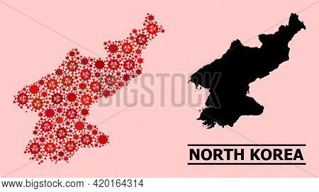 Vector Covid-2019 Mosaic Map Of North Korea Constructed For Pharmacy Posters. Red Mosaic Map Of Nort