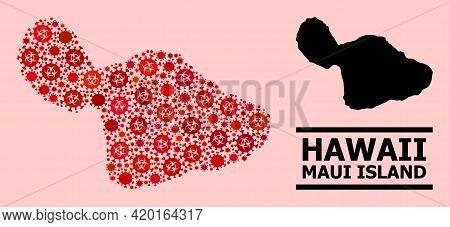 Vector Covid-2019 Mosaic Map Of Maui Island Done For Pharmacy Wallpapers. Red Mosaic Map Of Maui Isl