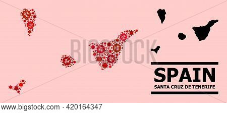 Vector Covid Mosaic Map Of Santa Cruz De Tenerife Province Organized For Doctor Purposes. Red Mosaic