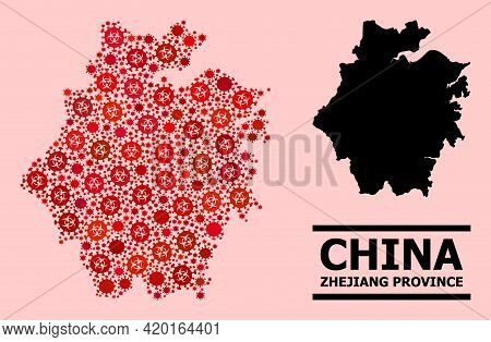 Vector Covid Mosaic Map Of Zhejiang Province Designed For Medicare Applications. Red Mosaic Map Of Z