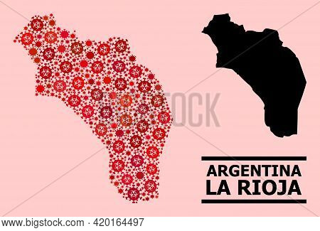 Vector Covid Mosaic Map Of Argentina - La Rioja Designed For Doctor Illustrations. Red Mosaic Map Of