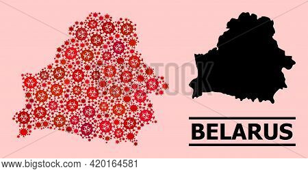Vector Covid-2019 Mosaic Map Of Belarus Created For Clinic Projects. Red Mosaic Map Of Belarus Is Cr