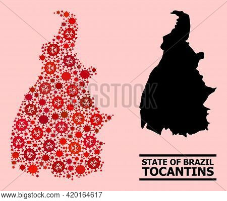 Vector Covid-2019 Mosaic Map Of Tocantins State Constructed For Hospital Projects. Red Mosaic Map Of