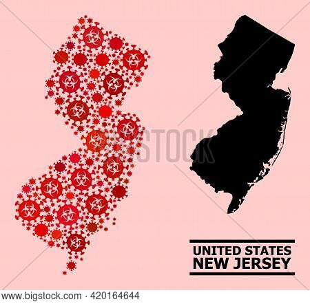 Vector Covid-2019 Collage Map Of New Jersey State Done For Health Care Applications. Red Mosaic Map