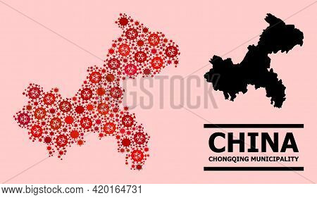 Vector Covid-2019 Mosaic Map Of Chongqing Municipality Designed For Vaccination Projects. Red Mosaic