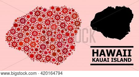 Vector Covid-2019 Composition Map Of Kauai Island Constructed For Lockdown Purposes. Red Mosaic Map