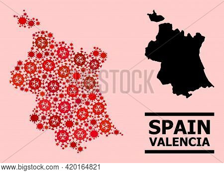 Vector Covid-2019 Mosaic Map Of Valencia Province Done For Vaccination Projects. Red Mosaic Map Of V