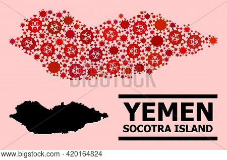 Vector Covid-2019 Mosaic Map Of Socotra Island Combined For Medicare Advertisement. Red Mosaic Map O