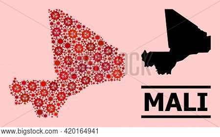 Vector Covid-2019 Mosaic Map Of Mali Designed For Lockdown Projects. Red Mosaic Map Of Mali Is Done