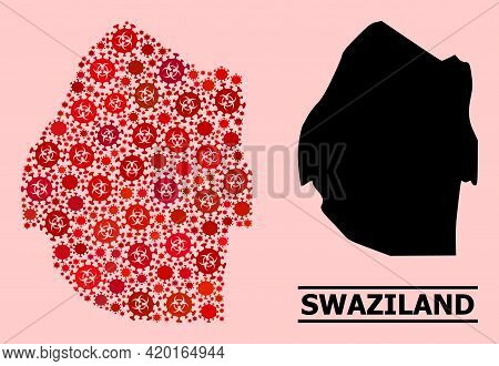 Vector Covid-2019 Mosaic Map Of Swaziland Designed For Doctor Advertisement. Red Mosaic Map Of Swazi