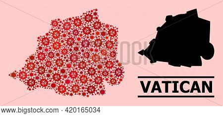 Vector Coronavirus Mosaic Map Of Vatican Done For Vaccination Posters. Red Mosaic Map Of Vatican Is