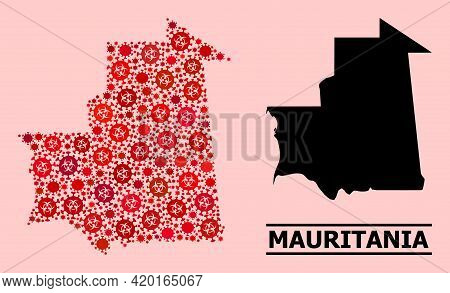 Vector Covid Mosaic Map Of Mauritania Done For Health Care Wallpapers. Red Mosaic Map Of Mauritania