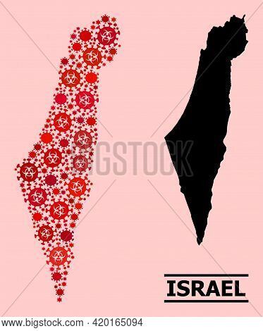 Vector Covid-2019 Mosaic Map Of Israel Designed For Hospital Purposes. Red Mosaic Map Of Israel Is F