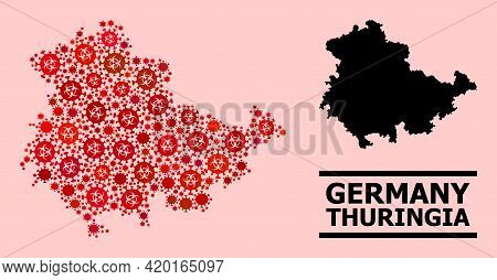 Vector Covid-2019 Mosaic Map Of Thuringia State Constructed For Doctor Purposes. Red Mosaic Map Of T