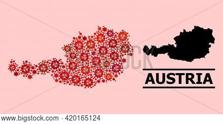 Vector Covid-2019 Mosaic Map Of Austria Created For Hospital Illustrations. Red Mosaic Map Of Austri