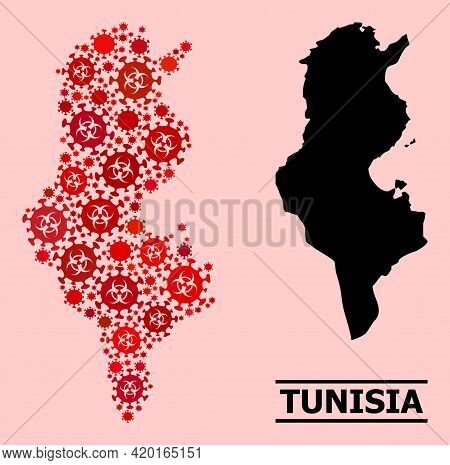 Vector Covid-2019 Mosaic Map Of Tunisia Constructed For Lockdown Illustrations. Red Mosaic Map Of Tu
