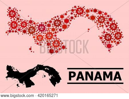 Vector Covid-2019 Mosaic Map Of Panama Combined For Clinic Wallpapers. Red Mosaic Map Of Panama Is S