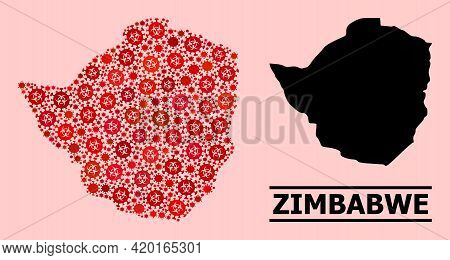 Vector Covid-2019 Mosaic Map Of Zimbabwe Done For Clinic Projects. Red Mosaic Map Of Zimbabwe Is Mad