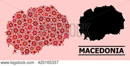 Vector Covid-2019 Mosaic Map Of Macedonia Designed For Lockdown Projects. Red Mosaic Map Of Macedoni